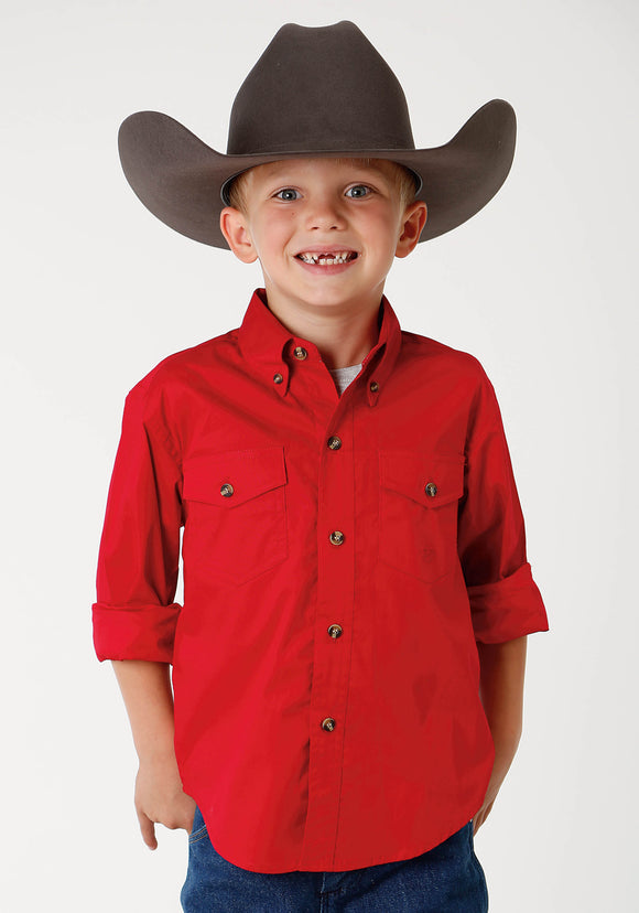 BOYS MENS RED SOLID LONG SLEEVE WESTERN BUTTON SHIRT