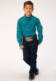 BOYS TEAL SOLID BLACK FILL TWILL LONG SLEEVE BUTTON WESTERN SHIRT