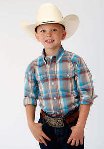 BOYS BROWN BLUE AND WHITE PLAID LONG SLEEVE BUTTON WESTERN SHIRT