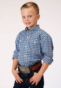 BOYS TURQUOISE WHITE AND NAVY BLUE SMALL CHECK PLAID LONG SLEEVE BUTTON WESTERN SHIRT