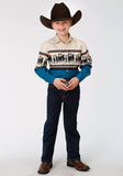BOYS HORSE BORDER LONG SLEEVE WESTERN SNAP SHIRT