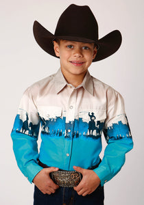 BOYS TURQUOISE AND WHITE ROPING BORDER PRINT LONG SLEEVE BUTTON WESTERN SHIRT
