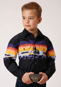 BOYS BLACK PURPLE ORANGE AND YELLOW SUNSET BORDER PRINT LONG SLEEVE BUTTON WESTERN SHIRT