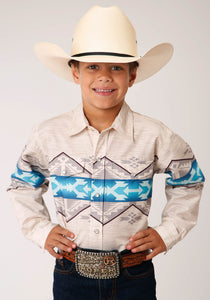 BOYS WHITE GRAY AND BLUE AZTEC BORDER PRINT LONG SLEEVE BUTTON WESTERN SHIRT