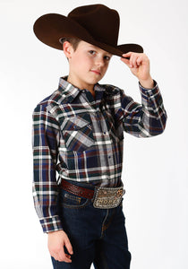 BOYS GREY NAVY AND BROWN PLAID LONG SLEEVE WESTERN SHIRT