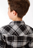 BOYS BLACK AND GREY PLAID LONG SLEEVE WESTERN SNAP SHIRT