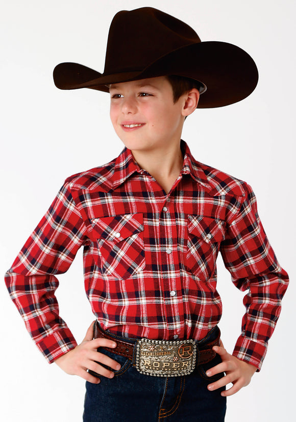 BOYS RED NAVY AND WHITE PLAID LONG SLEEVE WESTERN SNAP SHIRT