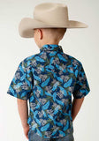BOYS BLUE TROPICS PRINT SHORT SLEEVE WESTERN LONG SLEEVE SNAP SHIRT