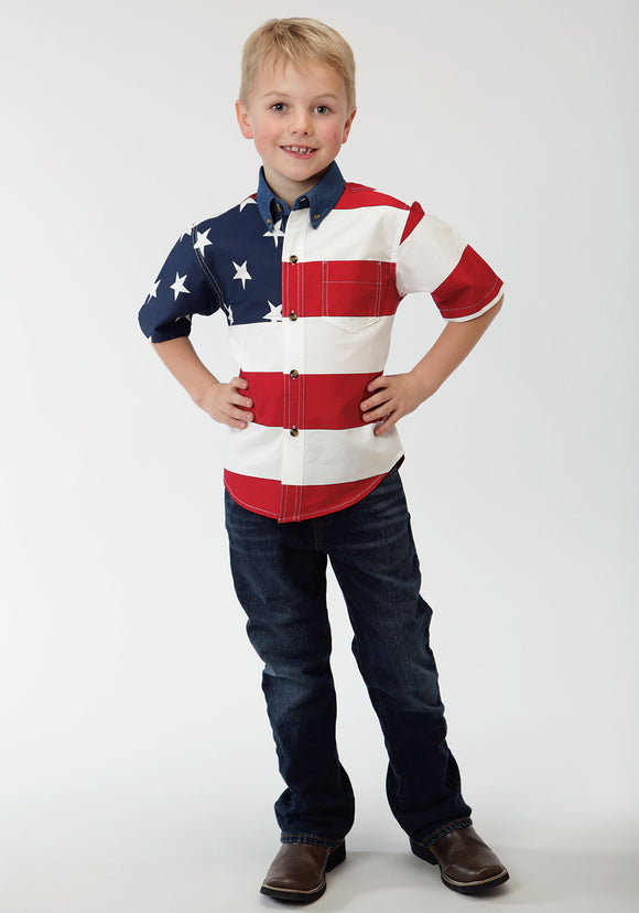 BOYS RED WHITE AND BLUE STARS AND STRIPES PIECED AMERICAN FLAG SHOPRT SLEEVE WESTERN SNAP SHIRT