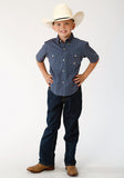 BOYS BLUE AND WHITE FOULARD PRINT SHORT SLEEVE WESTERN BUTTON SHIRT
