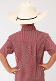 BOYS RED AND WHITE FOULARD PRINT SHORT SLEEVE WESTERN BUTTON SHIRT