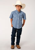 BOYS TURQUOISE WHITE AND NAVY BLUE SMALL CHECK PLAID SHORT SLEEVE WESTERN BUTTON SHIRT