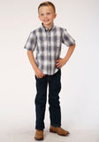 BOYS GRAY WHITE AND BLUE PLAID SHORT SLEEVE WESTERN BUTTON SHIRT