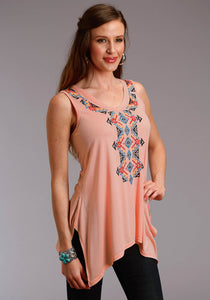 WOMENS ORANGE WITH AZTEC EMBROIDERY SLEEVELESS KNIT TOP