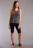 WOMENS GREY SOLID WITH EMBROIDERY SLEEVELESS KNIT TOP