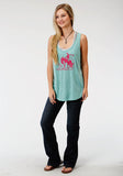 WOMENS AQUA SOLID WITH PINK SCREEN PRINT SLEEVELESS KNIT TOP
