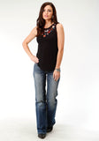 WOMENS BLACK WITH EMBROIDERY SLEEVELESS KNIT TOP