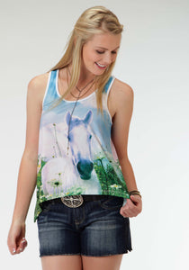 WOMENS SUBLIMATION HORSE PRINT SLEEVELESS KNIT TOP