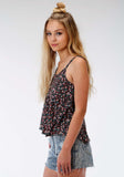 WOMENS MULTICOLORED FLORAL PRINT SLEEVELESS KNIT TOP