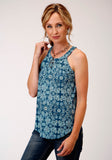 WOMENS TURQUOISE AND WHITE PAISLEY FLORAL PRINT SLEEVELESS KNIT TOP