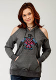 WOMENS GREY WITH AZTEC SREEN PRINT KNIT HOODED SWEATSHIRT