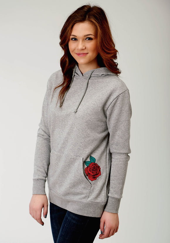 WOMENS GREY WITH EMBOIDERED ROSE HOODED SWEATSHIRT