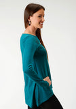 WOMENS TURQUOISE LONG SLEEVE KNIT TOP