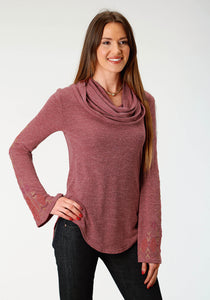 WOMENS WINE SOLID LONG SLEEVE KNIT TOP