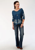 WOMENS BLUE WITH WHITE PAISLEY PRINT LONG SLEEVE KNIT TOP