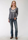 WOMENS BLUE SOLID WITH SCREEN PRINT LONG SLEEVE KNIT TOP