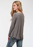 WOMENS GREY SOLID WITH SCREEN PRINT LONG SLEEVE KNIT TOP