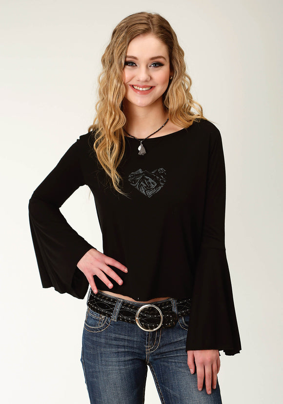 WOMENS BLACK WITH HEART SCREEN PRINT LONG SLEEVE KNIT TOP