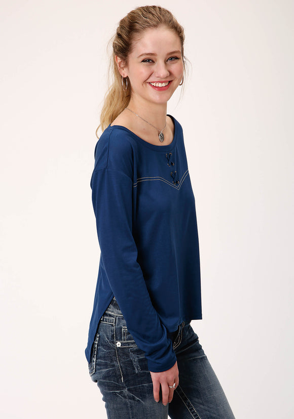 WOMENS BLUE WITH EMBROIDERED YOKE LONG SLEEVE KNIT TOP