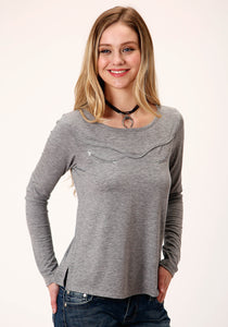 WOMENS GRAY WITH SMILE POCKET LONG SLEEVE KNIT TOP