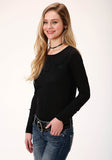 WOMENS BLACK WITH SMILE POCKET LONG SLEEVE KNIT TOP