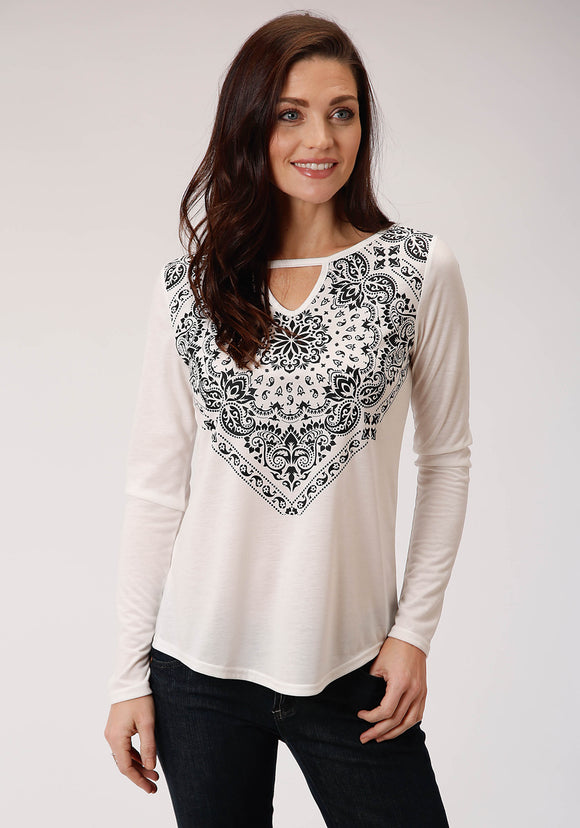 WOMENS WHITE AND BLACK PRINT LONG SLEEVE KNIT TOP