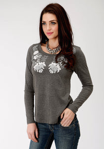 WOMENS GREY SOLID WITH EMBROIDERY LONG SLEEVE KNIT TOP