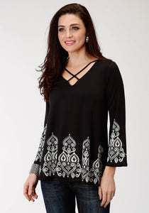 WOMENS BLACK SOLID WITH PAISLEY BORDER SCREEN PRINT LONG SLEEVE KNIT TOP