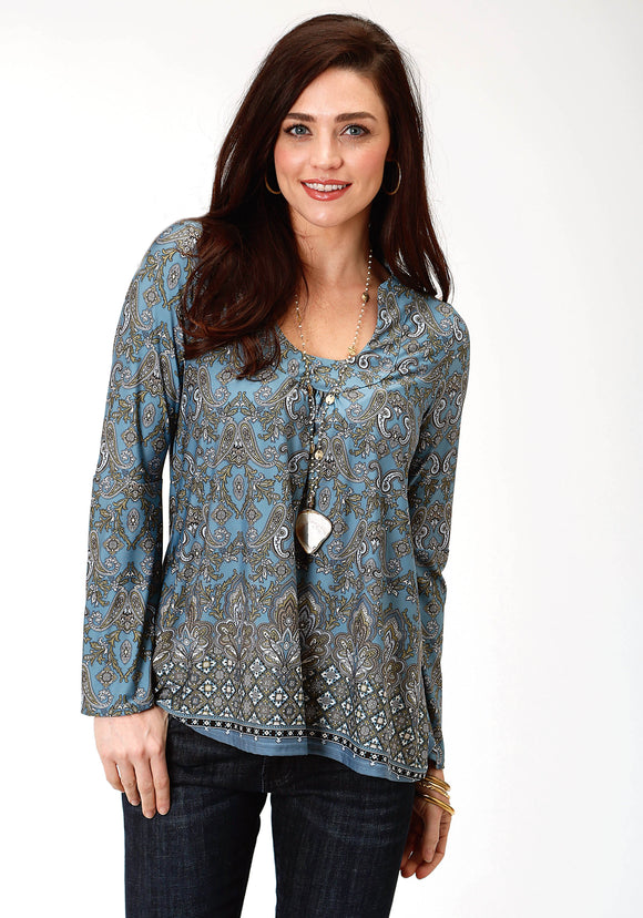 WOMENS MULTICOLORED PRINT LONG SLEEVE KNIT TOP