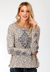 WOMENS MARLED YARN LONG SLEEVE SWEATER