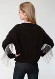 WOMENS BLACK WITH SILVER CHAIN FRINGE SWEATSHIRT