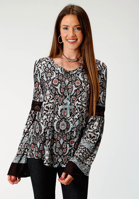 WOMENS BLACK GROUND MULTICOLORED PAISLEY PRINT LONG SLEEVE KNIT TOP