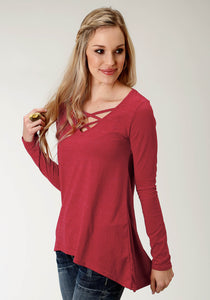 WOMENS RED SOLD LONG SLEEVE KNIT TOP