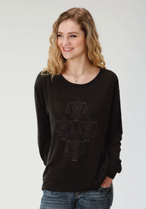 WOMENS BLACK SOLID WITH SCREEN PRINT LONG SLEEVE KNIT TOP