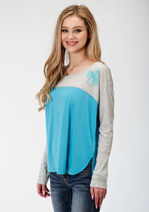 WOMENS GREY AND BLUE LONG SLEEVE KNIT TOP