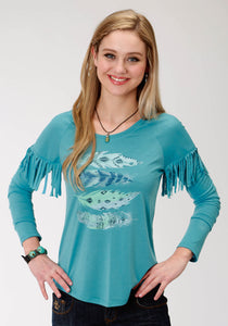 WOMENS TRUQUOISE SOLID WITH FEATHER SCREEN PRINT LONG SLEEVE KNIT TOP
