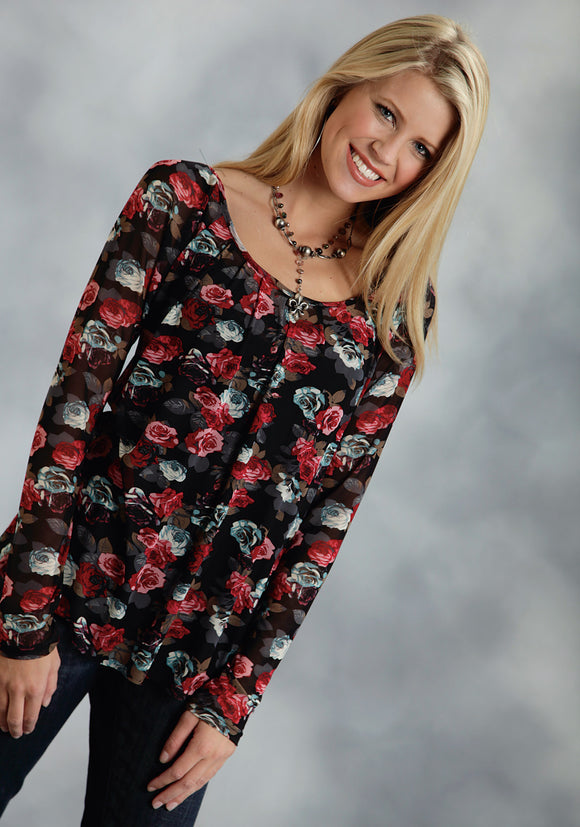 WOMENS BLACK GROUND FLORAL PRINTED LONG SLEEVE KNIT TOP