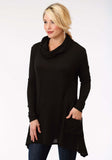 WOMENS SOLID BLACK LONG SLEEVE KNIT TOP