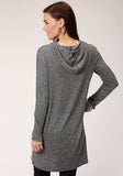 WOMENS RIB KNIT TUNIC LENGTH HOODIE LONG SLEEVE KNIT TOP