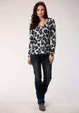 WOMENS GRAY BLACK AND WHITE LEOPARD PRINT LONG SLEEVE KNIT TOP